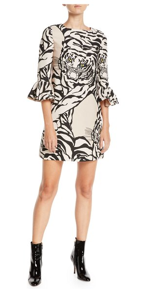 Valentino Jewel-Neck 3/4-Sleeve Tiger-Print Crepe Cocktail Dress in beige - Valentino cocktail dress in tiger-print crepe. Square...