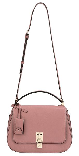 Valentino Joylock Leather Flap Messenger Bag in pink