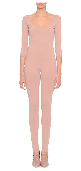 Valentino Knit 3/4-Sleeve Scoop-Neck Jumpsuit in skin - Valentino knit jumpsuit. Scoop neckline and back....