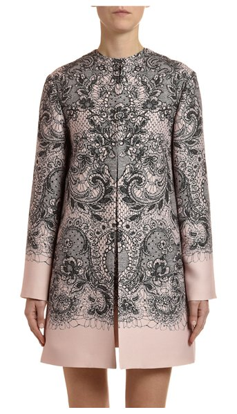 Valentino Lace Crepe Couture Coat in pink/black