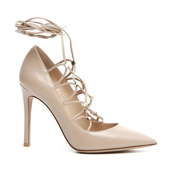 Valentino lace-up pump in beige - classic pointy-toe pump in smooth, supple kidskin gets a...