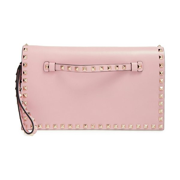 Valentino Large rockstud leather flap clutch in water rose - Whether you want to add an opulent edge to casual...
