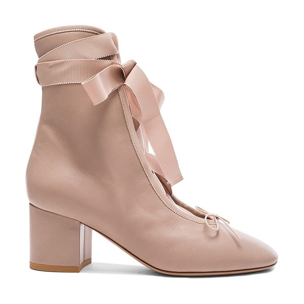 Valentino Leather Ballet Booties in poudre - Leather upper and sole. Made in Italy. Shaft measures...