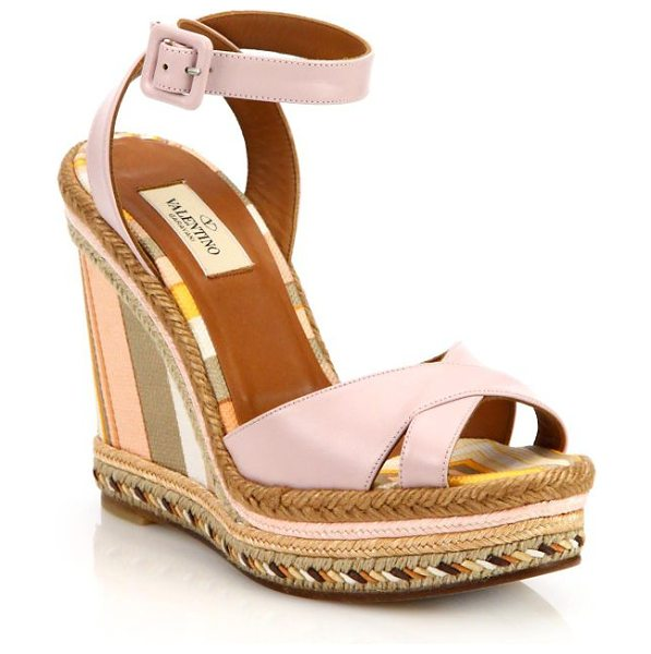 Valentino Leather crisscross stripe espadrille wedge sandals in pink - Stripes wrap wedge of leather crisscross sandalTextile...