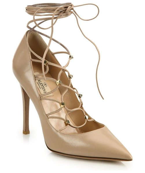 VALENTINO leather lace-up pumps in blush - Sophisticated point-toe pump with chic lace-up design....