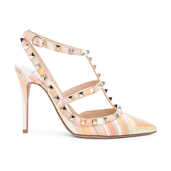 Valentino Leather rockstud 1975 heels in orange,geometric print - Printed leather upper with leather sole.  Made in Italy....