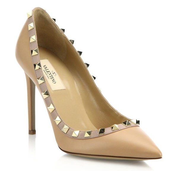 Valentino leather rockstud pumps in nude - Leather pump toughened up with chic studs. Self-covered...