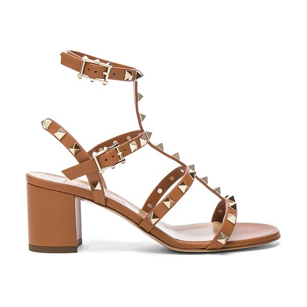 Valentino Leather Rockstud Sandals in brown - Leather upper and sole.  Made in Italy.  Approx 65mm/...