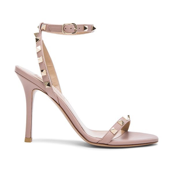 VALENTINO Leather Rockstud T.100 Sandals in neutrals - Genuine leather upper and sole.  Made in Italy.  Approx...