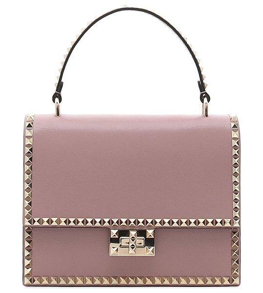 Valentino leather rockstud top handle bag in rose - Structured leather top handle bag with signature...