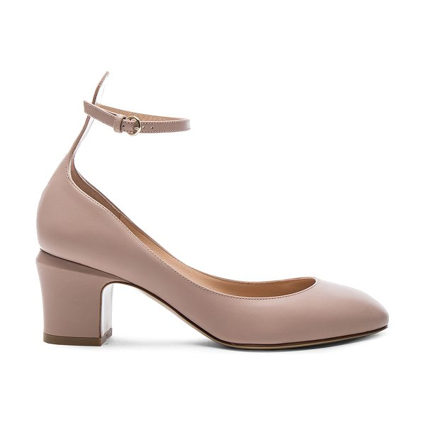 Valentino Leather Tan-Go Pumps in poudre - Leather upper and sole. Made in Italy. Approx 65mm/ 2.5...