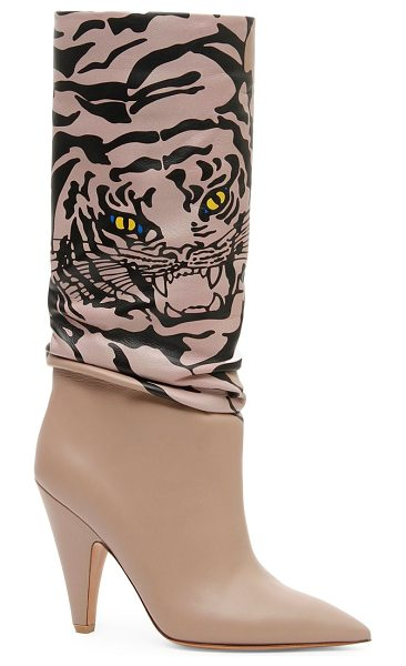 Valentino leather tiger mid-calf boots in poudre - Expertly crafted leather mid-calf boots in smooth...