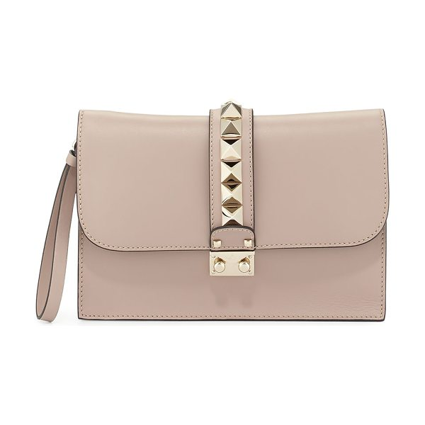 Valentino Lock Grain Wristlet Large Clutch Bag in taupe - Valentino smooth calf leather wristlet clutch. Shiny...