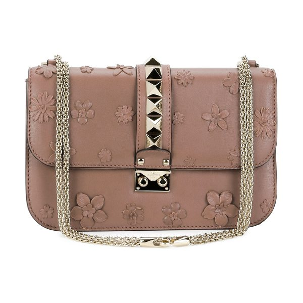 VALENTINO Lock Medium Floral Shoulder Bag - Valentino leather shoulder bag with floral appliqu....