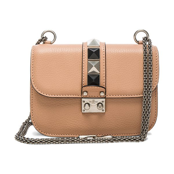 Valentino Lock Rolling Small Shoulder Bag in neutrals - Genuine grained leather with raw lining and...