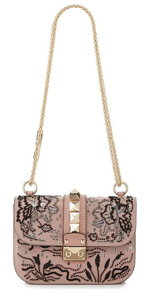 Valentino Lock Small Beaded Floral Shoulder Bag in light pink - Valentino Garavani calfskin shoulder bag with beaded...