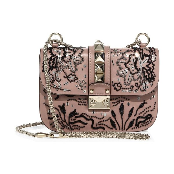 Valentino lock small beaded leather shoulder bag in poudre - Smooth leather shoulder bag with beaded floral design....