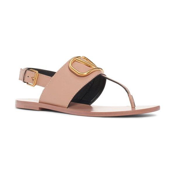Valentino logo buckle thong sandal in pink