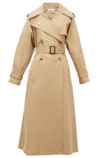 Valentino logo-plaque cotton trench coat in beige
