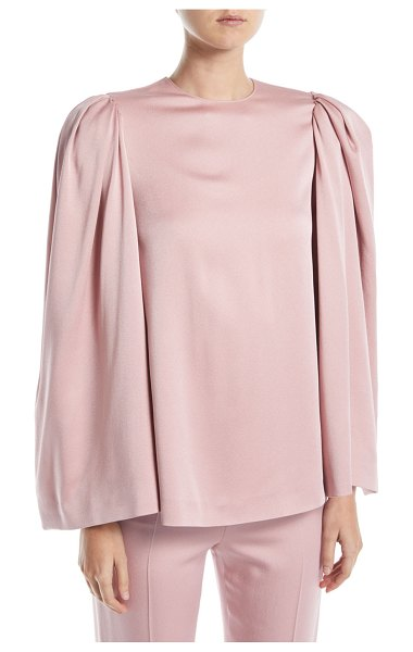 Valentino Long Bell-Sleeve Jewel-Neck Cady Blouse in light pink - Valentino blouse in crepe cady. Jewel neckline. Strong...