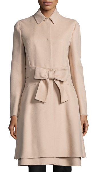 Valentino Long-sleeve bow-front jacket in beige - Valentino wool-blend jacket. Spread collar; hidden front...