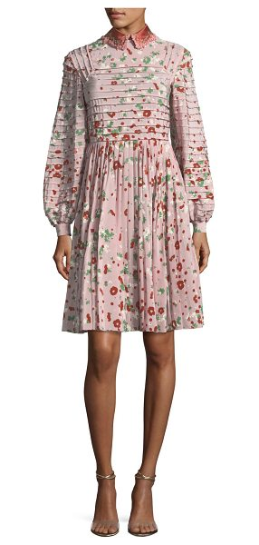 Valentino Long-Sleeve Floral-Print Silk Dress in pink pattern