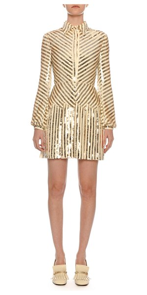 Valentino Long-Sleeve Paillette-Ribbon Embroidered Body-Con Mini Dress in white/gold