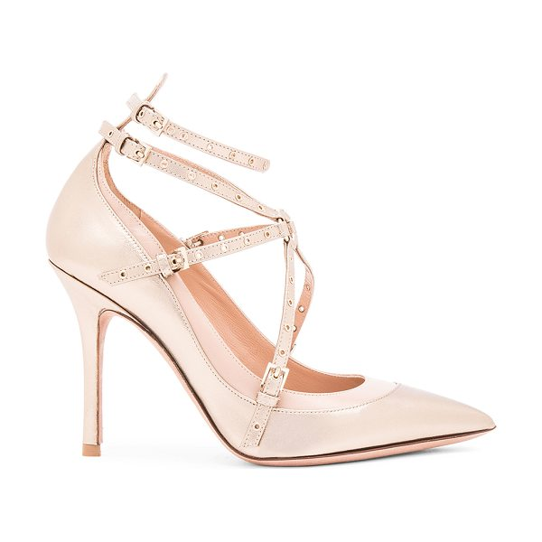 Valentino Love Latch Ankle Strap Leather Heels in metallics - Leather upper and sole.  Made in Italy.  Approx 100mm/ 4...