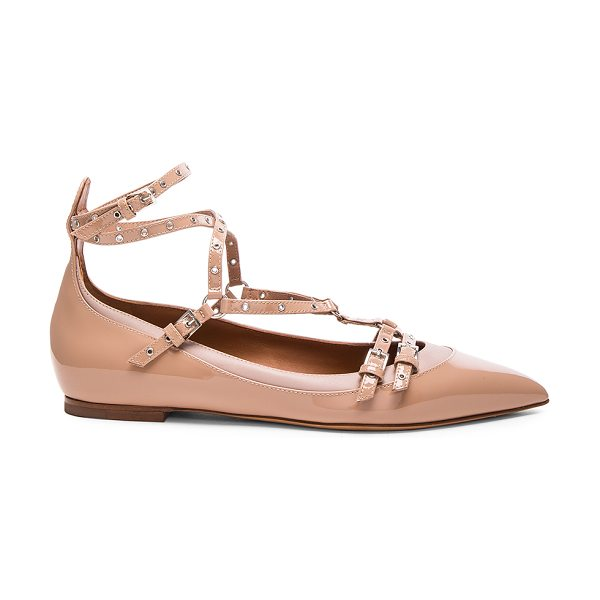 Valentino Love Latch Patent Leather Ballerina Flats in neutrals - Patent leather upper with leather sole.  Made in Italy. ...