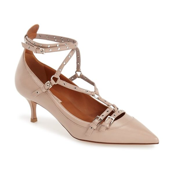 Valentino love latch pointy toe pump in poudre - With its buckle detailing, slender straps punctuated by...