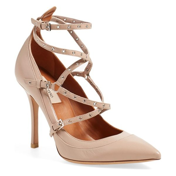 Valentino love latch strappy grommet pump in poudre leather - With its trio of buckles, slender straps punctuated by...