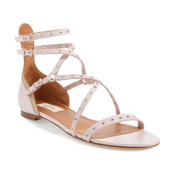 Valentino love latch strappy grommet sandal in water rose leather -