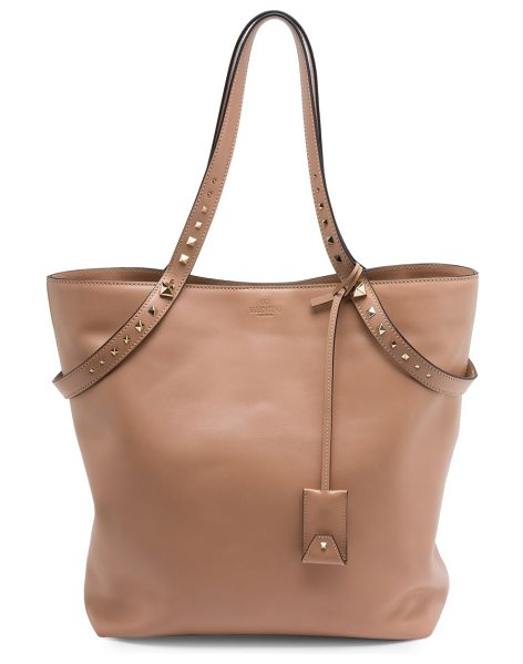 Valentino love stud leather tote in nude - Smooth leather tote with graduated rockstud handles....