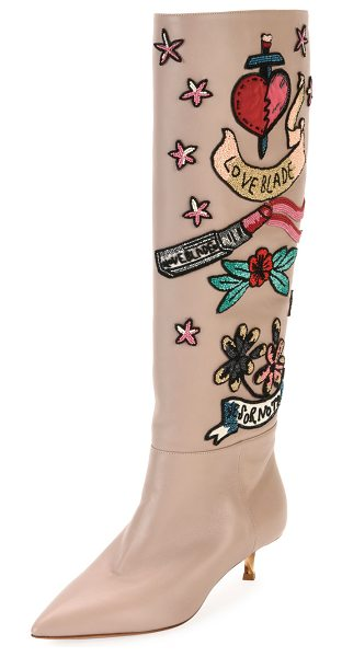 Valentino Loveblade Twist-Heel Embellished Knee Boot in poudre - Valentino Garavani soft leather knee-high boot with...