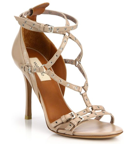 VALENTINO love latch grommeted leather sandals - Strappy leather sandal with edgy grommet detailing....