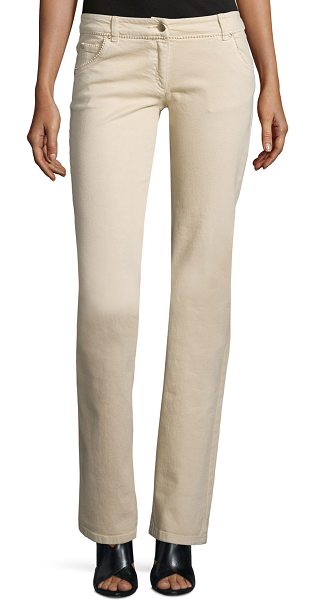 VALENTINO Low-rise straight-leg jeans - Valentino jeans with tonal-beaded trim. Five-pocket...