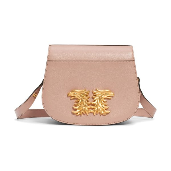 Valentino maison gryphon leather saddle bag in pink