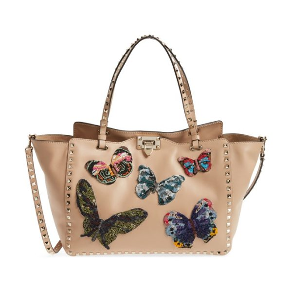 Valentino medium beaded butterfly leather tote in camel rose - Exquisitely beaded butterflies-the fashion house's...