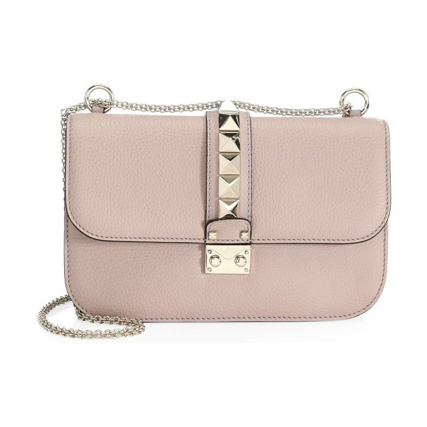 VALENTINO medium rocklock crossbody in poudre - Stud details enhance this petite crossbody. Adjustable...