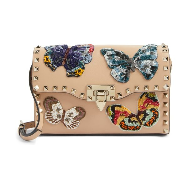 VALENTINO valentino medium rockstud butterfly leather shoulder bag - Exquisitely beaded butterflies-the fashion house's...