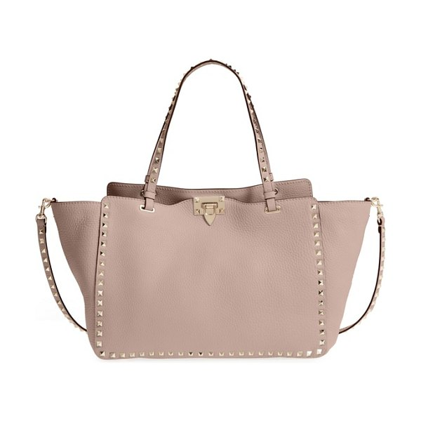 Valentino medium rockstud leather tote in pink - The Rockstud tote takes you through the seasons in...