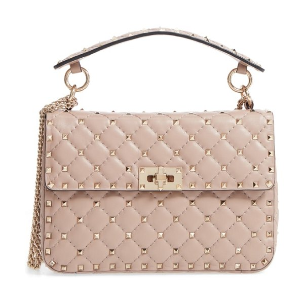 Valentino medium rockstud matelasse quilted leather crossbody bag in beige