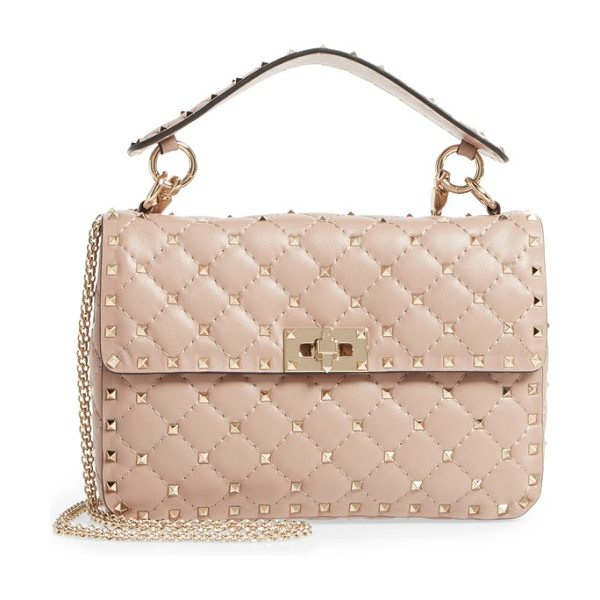 Valentino medium rockstud matelasse quilted leather shoulder bag in poudre - Micro pyramid studs spike the meticulous matelasse...