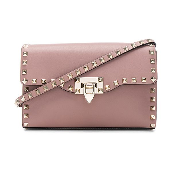 """Valentino Medium Rockstud Shoulder Bag in neutrals - """"Genuine leather with twill lining and pale gold-tone..."""