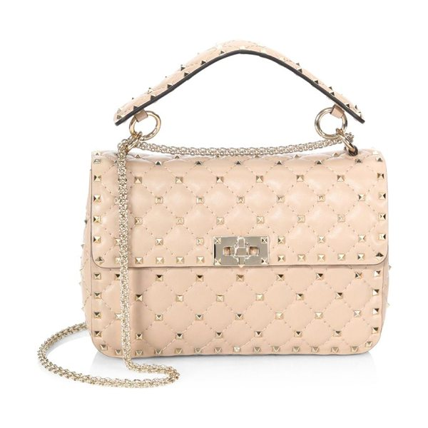 Valentino medium rockstud spike leather shoulder bag in poudre