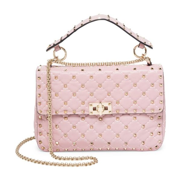Valentino medium rockstud stitched leather chain shoulder bag in waterrose - Rockstuds elevate elegant diamond-stitched leather bag....