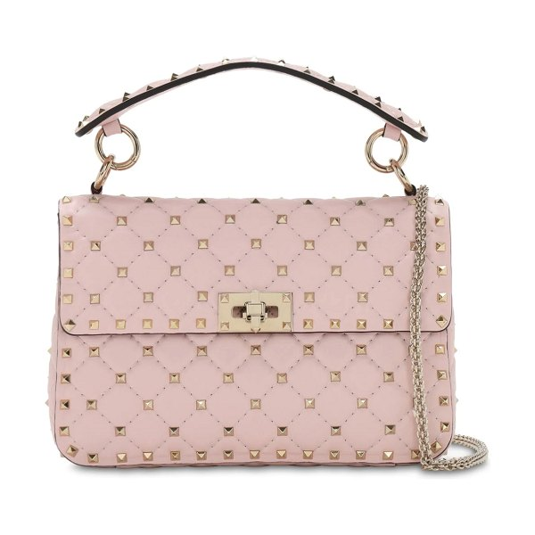 Valentino Medium spike leather shoulder bag in rose quartz