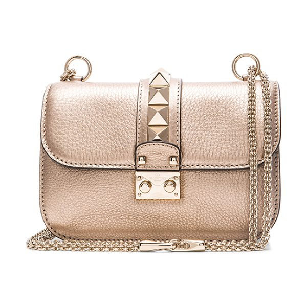 VALENTINO Metallic small lock shoulder bag - Grained metallic leather with raw lining and pale...