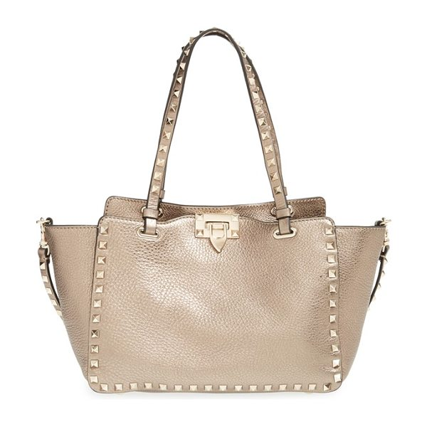 VALENTINO Mini rockstud metallic leather tote - Gleaming metallic leather updates the iconic silhouette...
