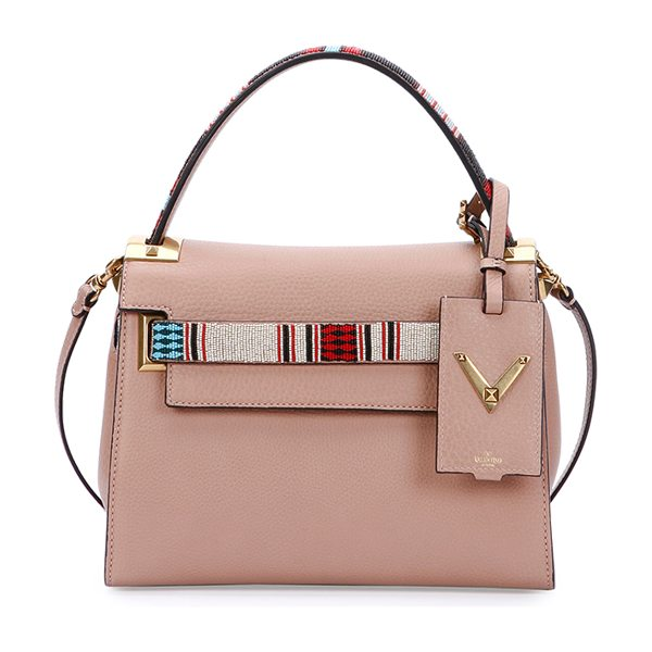VALENTINO My rockstud small beaded satchel bag in beige - Valentino pebbled calf leather satchel bag. Painted...